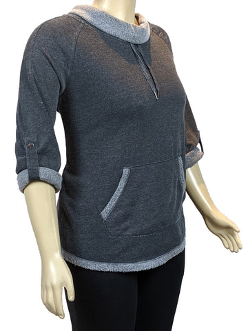 Calvin Klein Plus Size Cowl Neck Sweater_Charcoal