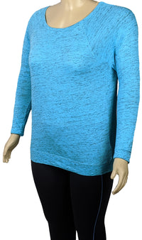 Calvin Klein Plus Size Long Sleeve Activewear Athleisure T Shirt in Blue