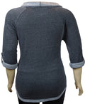 Calvin Klein Plus Size Long Sleeve Cowl Neck Sweater Denim Blue