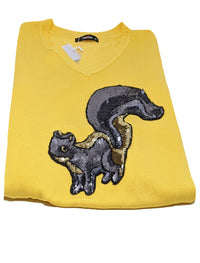 Sequence Squirrel Applique Sweater in Yellow