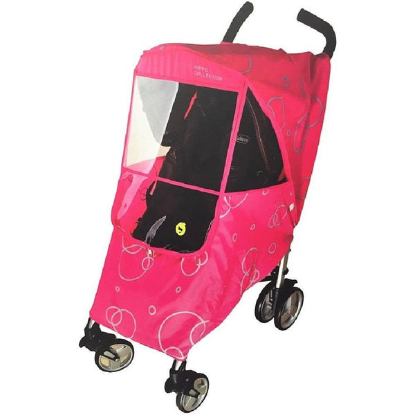 Hippo Collection Universal Stroller Weather Shield Pink with Circle Pattern