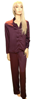 Maidenform Satin 2-piece Button Down Pajama Set in Burgundy