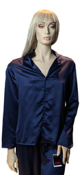 Maidenform Satin 2-piece Button Down Pajama Set in Navy