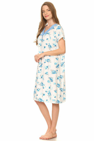 Lati Fashion Short Sleeve Sleepwear Cotton Pajamas Style# 801 Blue