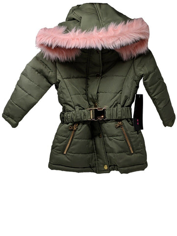 Toddler Girls Insulated Green Puffer Jacket With Pink Faux Far