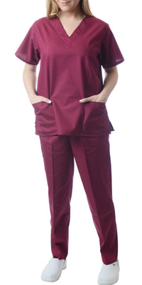 Sherly Uniforms Womens' Medical Scrub Set_Wine