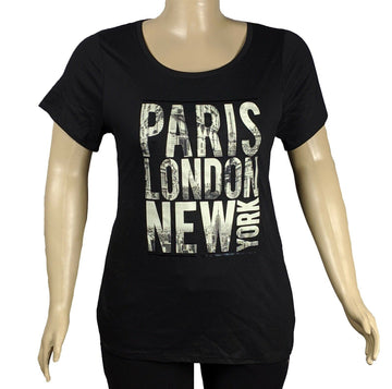 Lane Bryant Strap Back Paris-London-New York Casual T Shirt