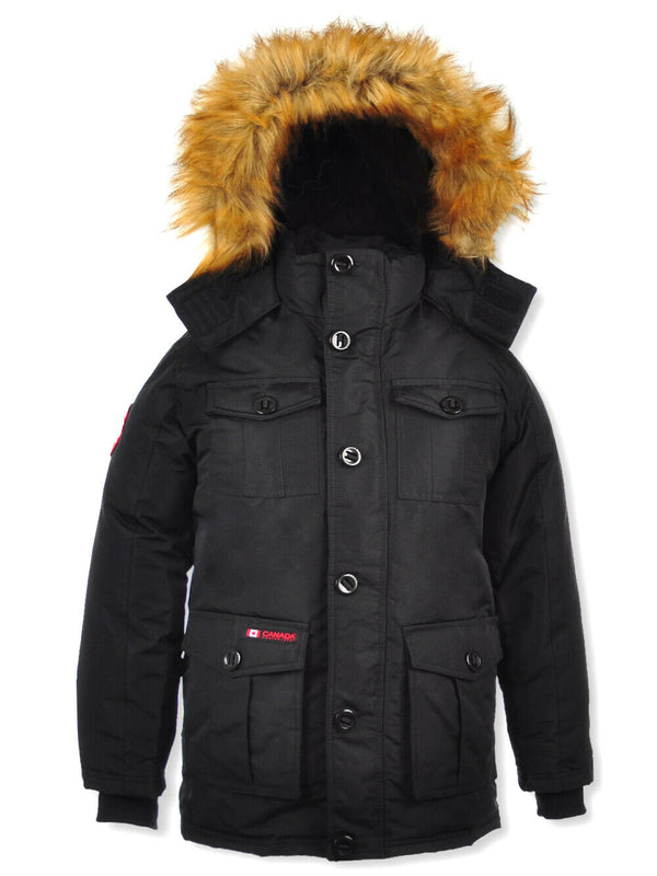 Canada Weather Gear Men's Insulated Parka Black Jacket