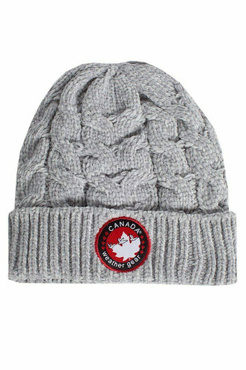 Canada Weather Gear Chenille Beanie Hat Acrylic Gray
