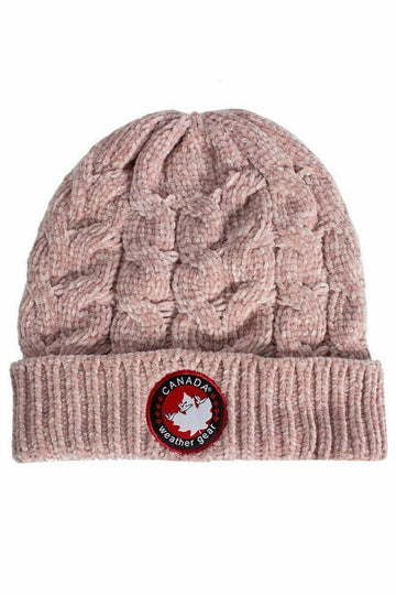 Canada Weather Gear Chenille Beanie Hat Acrylic Pink