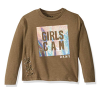 DKNY Girls' Fashion Long Sleeve T-Shirt
