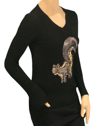 Gee Gee Sequence Squirrel Applique Sweater in Black