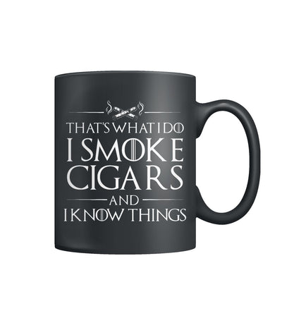 I Smoke Cigars and I Know Things Color Coffee Mug - Cigars Lovers Club - Cigar Apparels, Shirts, Mugs, Posters...