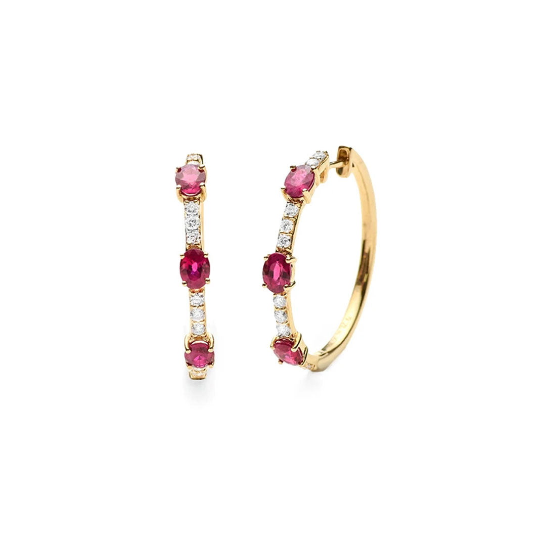 Triple Ruby Hoop Earrings