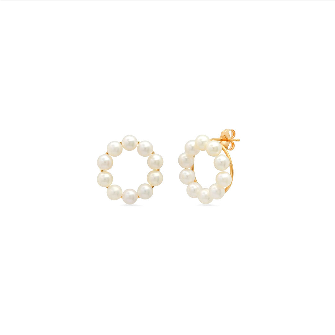 Ten Pearl Round Stud Earrings