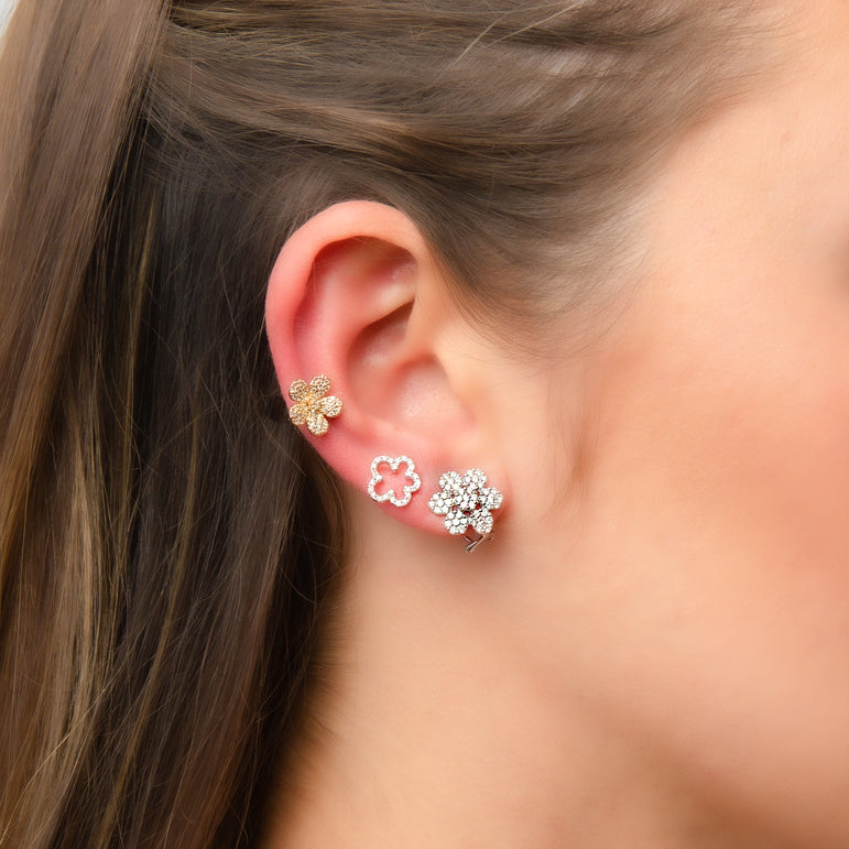 Big Flower Diamond Earrings