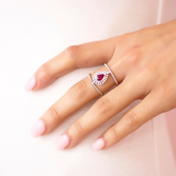 Cocktail Diamond Pear Halo Ruby Ring by Access79