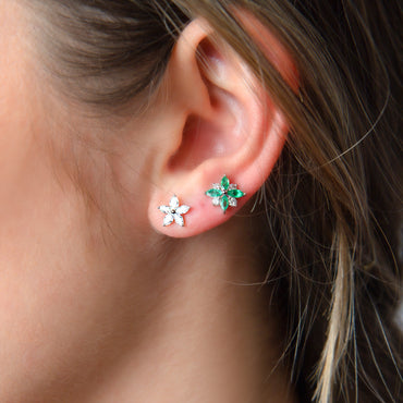 Petite Emerald Flower Earrings