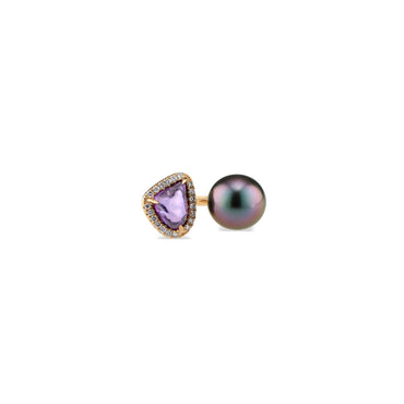 Purple Sapphire & Pearl Ring