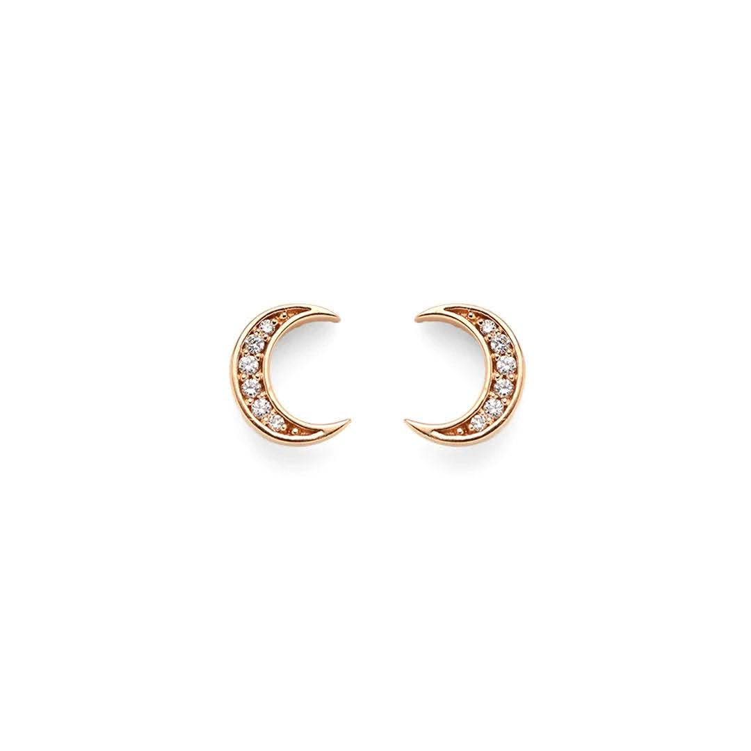 Sora Diamond Moon Stud Earrings