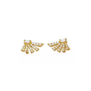 Angular Diamond Fan Earrings