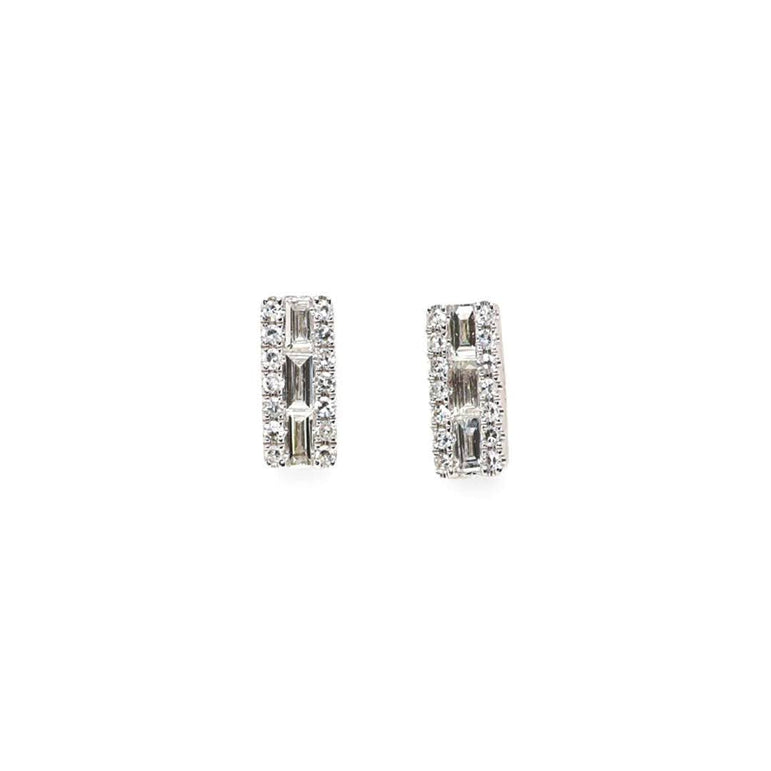 Line Diamond Baguette Stud Earrings