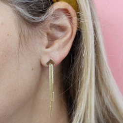 Chevron Gold Tassel Earrings