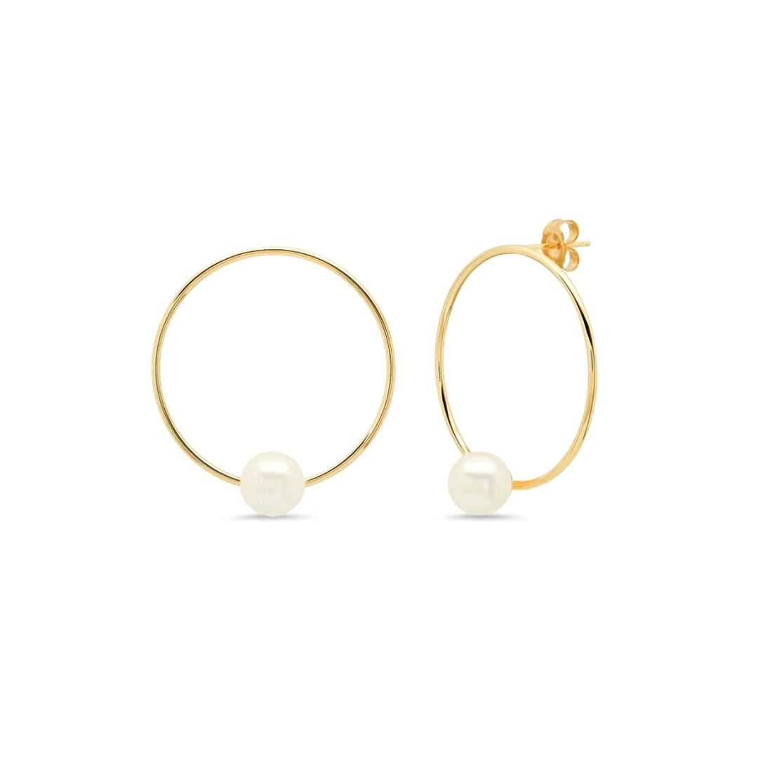 Big Hoop Pearl Stud Earrings