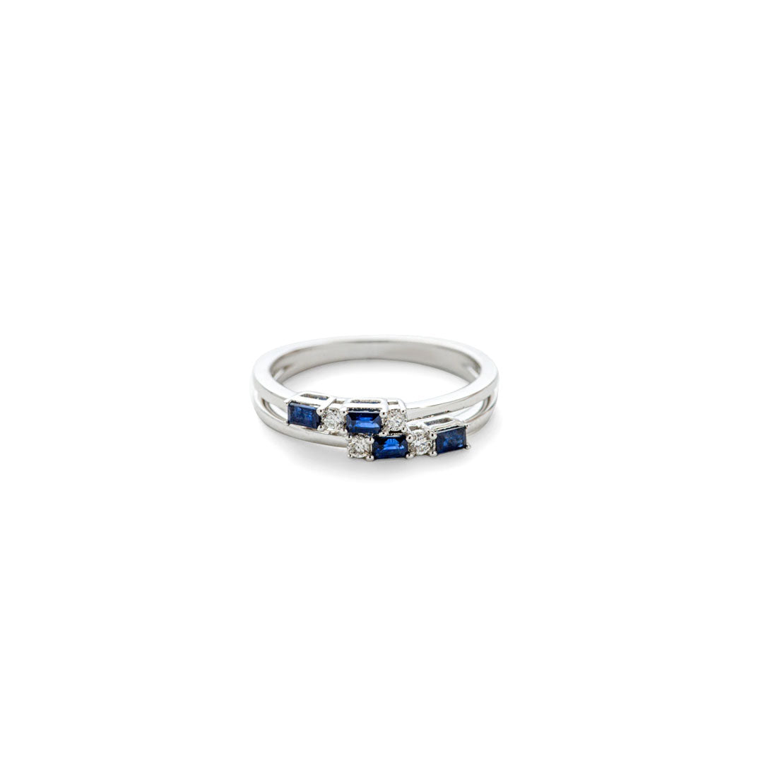 Staggered  Sapphire Bar Ring