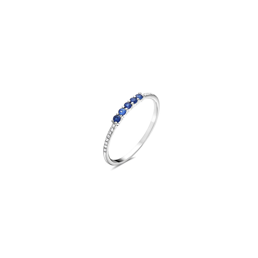 Five Sapphire Dot Ring