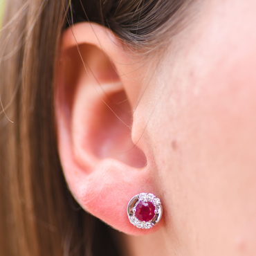 Portia Ruby Stud Earrings