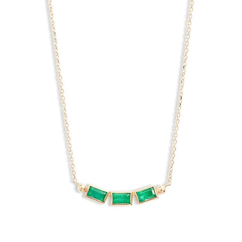 Cléo Baguette Trio Necklace