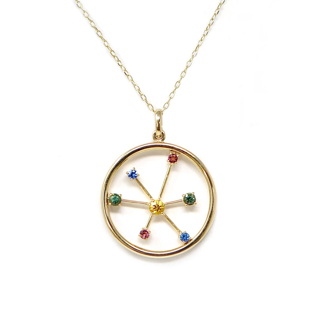 Ferris Wheel Many Gem Necklace