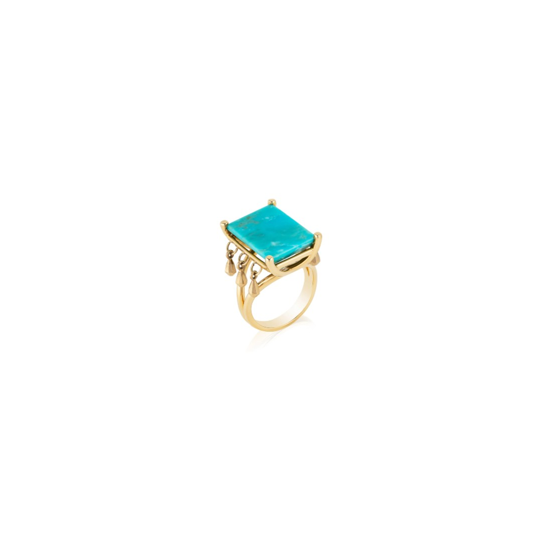 Golddrop Mirror Turquoise Ring