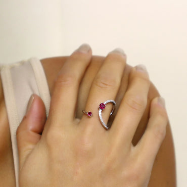 Modern Open Space Ruby Ring