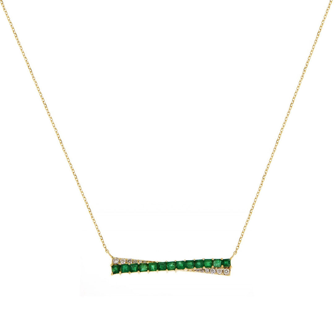 Katie Emerald Bar Diamond Necklace