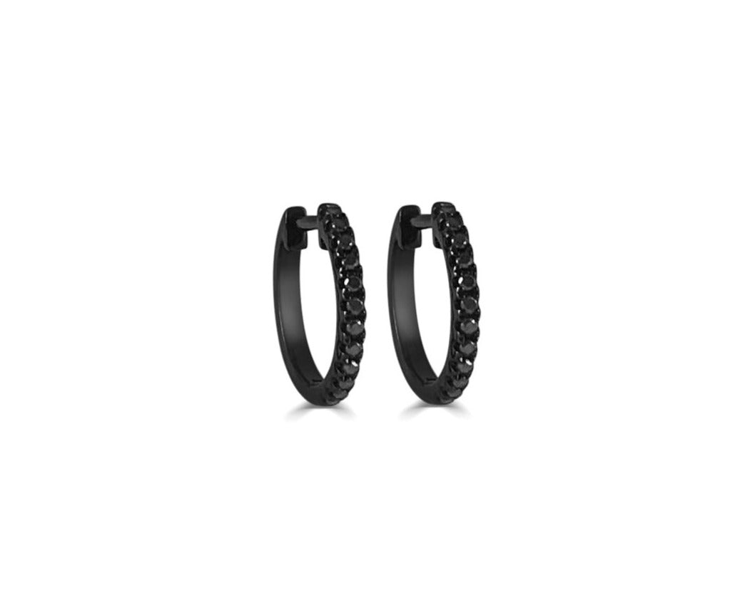 Jet Black Diamond Huggie Earrings