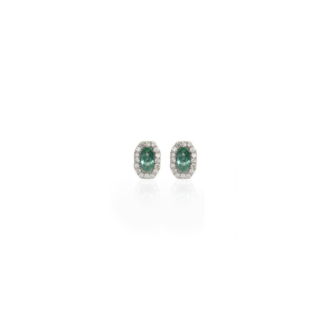 Octagon Emerald and Diamond Earrings