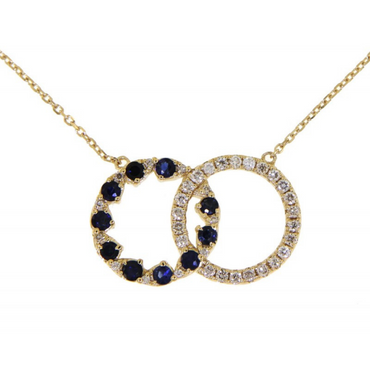 Ashani Double Round Diamond with Blue Sapphire Necklace