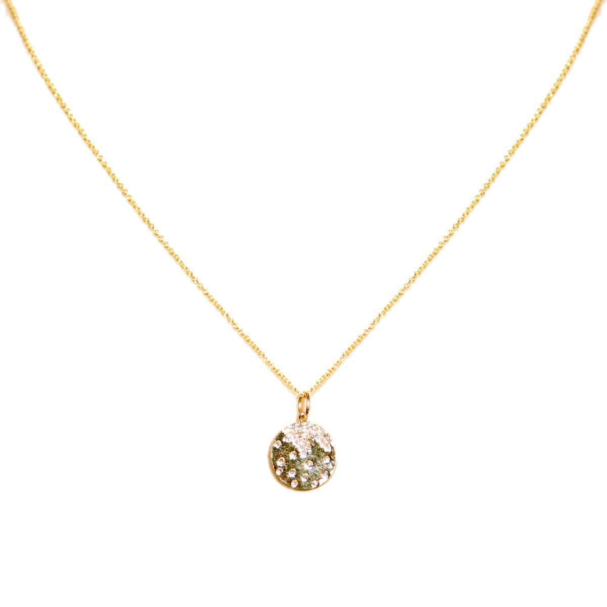 Starry Diamond Disc Necklace