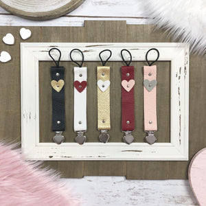 HEART Leather Baby Paci Clips