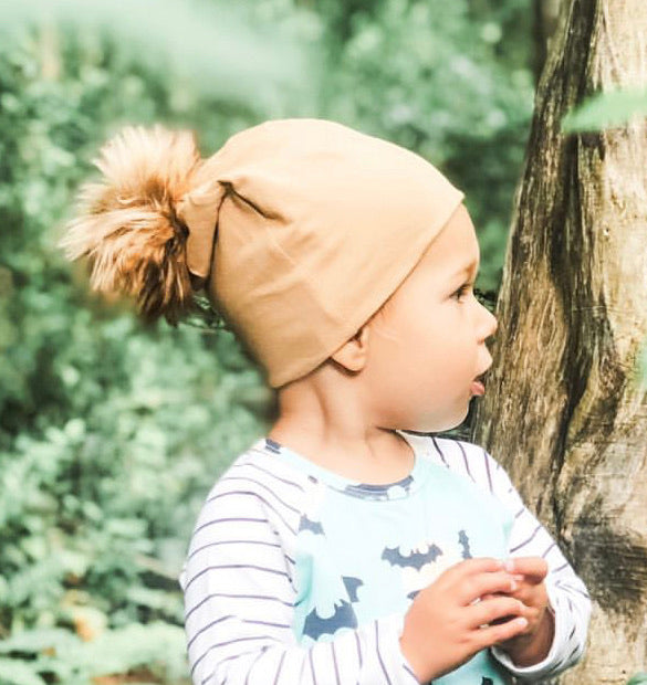 Taupe Pom Hat (12-24 mo + child/adult left)