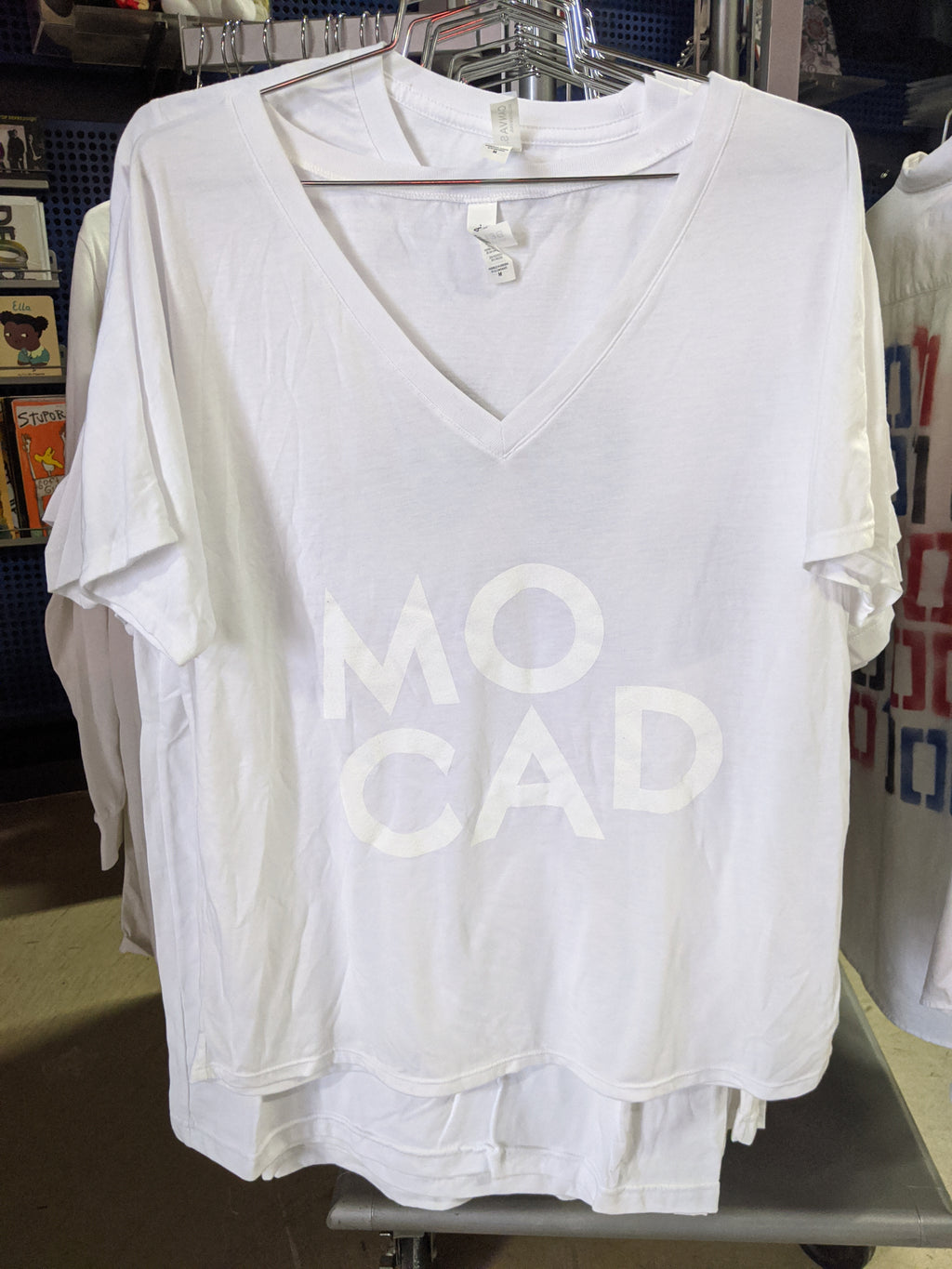 MOCAD White on White V-Neck shirt