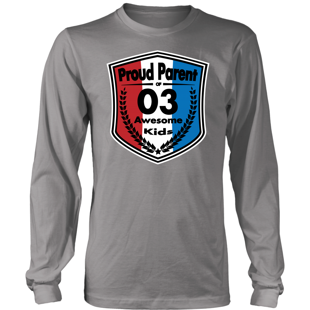 Proud Parent of 3 - Unisex Long Sleeve Shirt - Red White Blue Pattern
