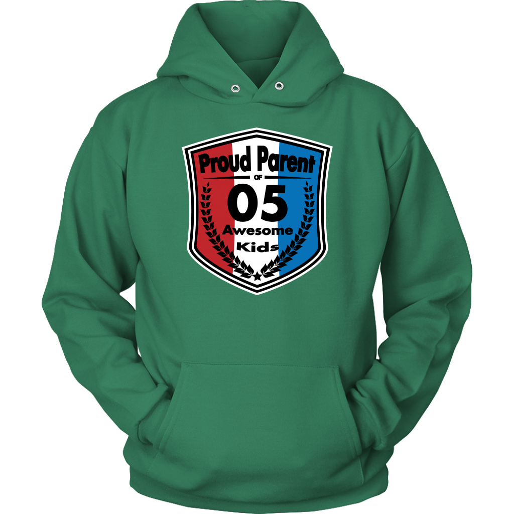 Proud Parent of 5 - Unisex Hoodie - Red White Blue Pattern