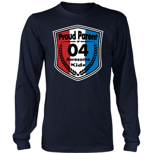 Proud Parent of 4- Unisex Long Sleeve Shirt - Red White Blue Pattern