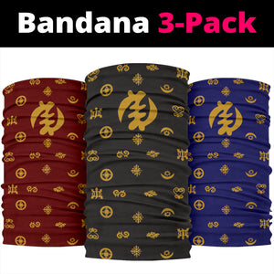 Adinkra Symbols -BlackBurgandyBlue with Gold - Neck Gaiters
