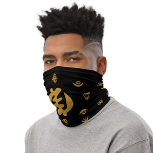 Adinkra Symbols - Black/Gold - Neck Gaiter