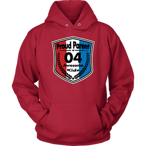Proud Parent of 4 - Unisex Hoodie - Red White Blue Pattern