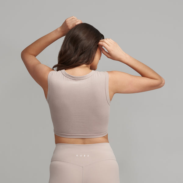 Sleeveless Cropped T - Nude